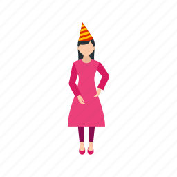 birthday, celebrate, colorful, fun, happy, party, woman icon