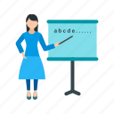 classroom, school, woman, students, college, education, teacher icon