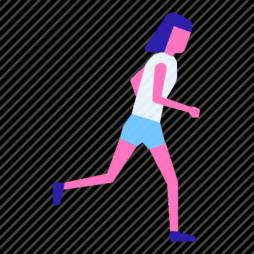 athlete, female, fitness, run, runner, training, workout icon