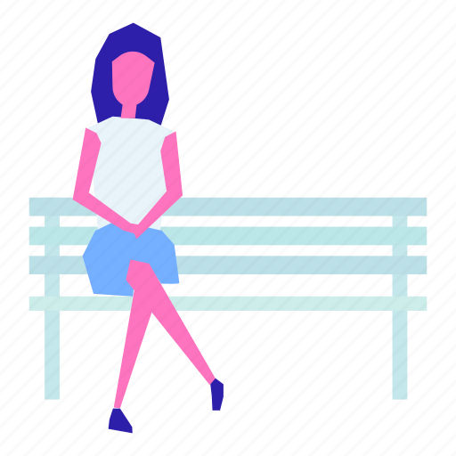 bench, female, girl, nature, park, people, woman icon