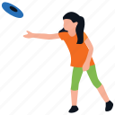 frisbee playing, girl playing, outdoor games, physical activity, playing tool icon