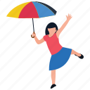 park entertainment, park fun, playing girl, playing with umbrella, rainy day icon