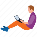 home office, man working, online assignment, online working, working in park icon