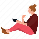 home office, online assignment, online working, woman working, working in park icon