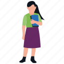 female student, girl holding book, learner, student, teenager icon