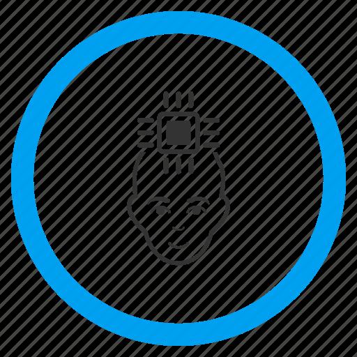 android, cyborg, electronic, human, neuro interface, robot, robotics icon