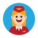 air, airport, attendant, flight, fly, hostesse, plane icon