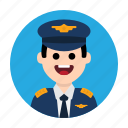 aircraft, airport, captain, flight, fly, pilot, plane icon