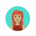 freckled, ginger, red-haired, wavy hair icon