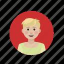 avatar, blond, pale, short hair icon