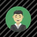 asian guy, sleek, sophisticated, styled hair icon