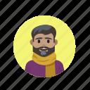 beard, modern, scarf, sophisticated icon
