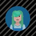 girly, green hair, punk, teenage