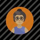 bun, feminist, glasses, hipster