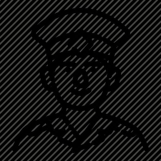 avatar, employee, face, male, man, policeman, uniform icon