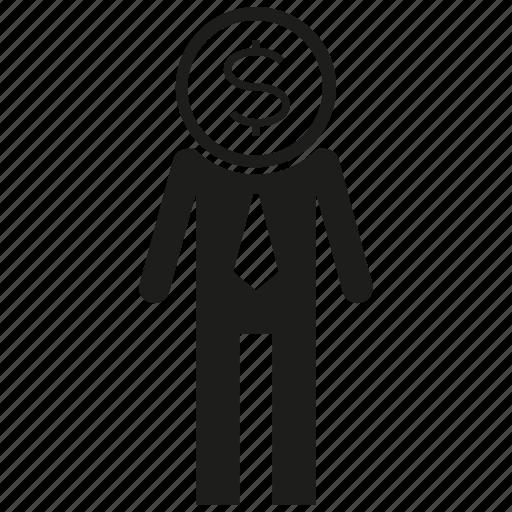 business man, dollar, man, money icon
