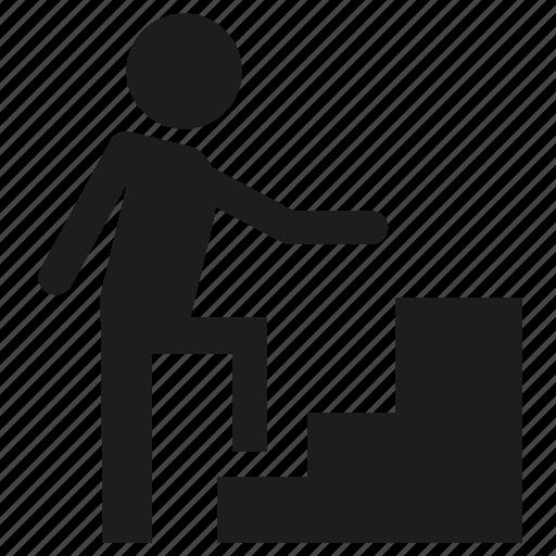 man, people, stair, walking icon