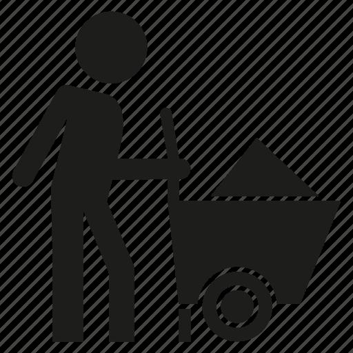 cart, labor, labour, man, people icon