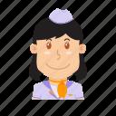 air hostess, avatar, flight attendant, people, plane, profession, stewardess icon