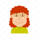 avatar, clerk, employee, profession, spectacles, teacher, typist icon