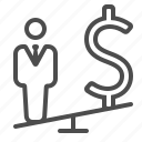 businessman, career, man, money, salary, seesaw, wealth icon