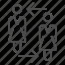 arrow, girl, people, recruitment, team, teamwork, woman icon