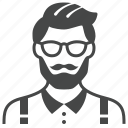 person, avatar, hipster, man, glasses, adult