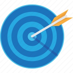 achievment, aim, arrow, arrows, blue, directly, game, games, goal, orange, play, spot, target icon