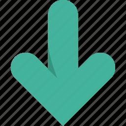 arrow, arrows, bottom, direction, down, download icon
