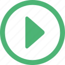arrow, arrows, audio, green, media, movie, movies, mp3, music, play, player, video, videos icon