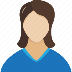 account, avatar, blue, female, girl, human, people, person, profile, staff, user, users, woman icon