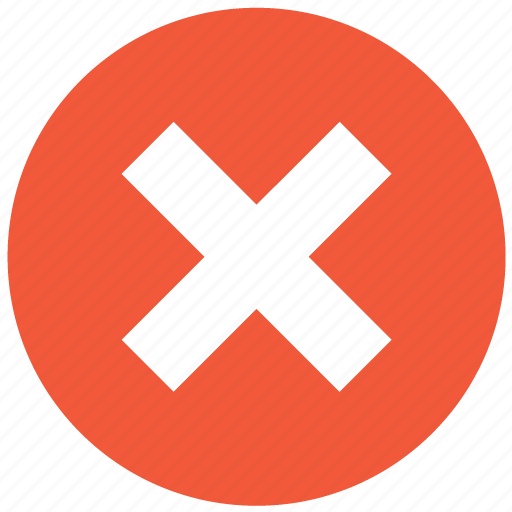 cancel, close, delete, no, remove, stop, x cross icon