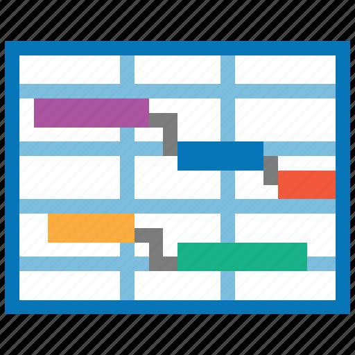 analysis, diagram, gantt chart, plan, project, report, schedule icon