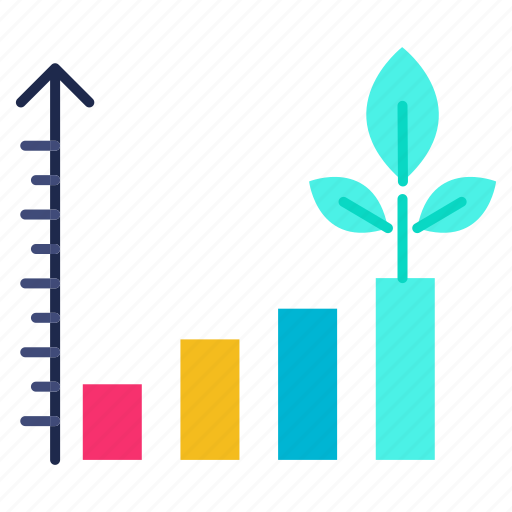 chart, growth, investments, performance, plant icon
