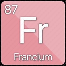 alkali, atomic, element, francium, metal, periodic table icon