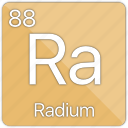 alkaline, atomic, element, metal, periodic table, radium icon