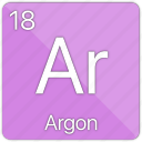 argon, atomic, element, gas, nobel, periodic table icon