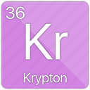 atomic, element, gas, krypton, nobel, periodic table icon