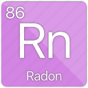 atomic, element, gas, nobel, periodic table, radon icon
