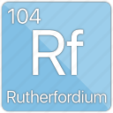 atom, atomic, element, metal, periodic table, rutherfordium icon