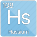 atom, atomic, element, hassium, metal, periodic table icon