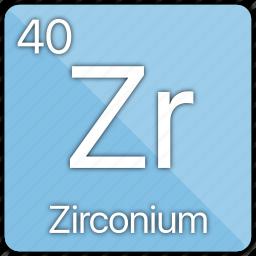 atom, atomic, element, metal, periodic table, zirconium icon