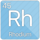 atom, atomic, element, metal, periodic table, rhodium icon