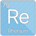 atom, atomic, element, metal, periodic table, rhenium icon