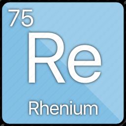 atom, atomic, element, metal, periodic table, rhenium icon