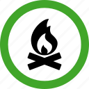 campfire, fire, flame, hot, permitted, warm icon