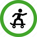 permitted, roller, rolling, skate, skater, skating icon