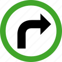 arrow, arrows, direction, permitted, right, turn icon