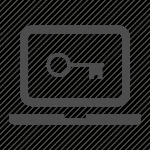 hardware, key, laptop, notebook, password, screen icon