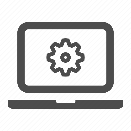 cog, hardware, laptop, notebook, screen, settings icon